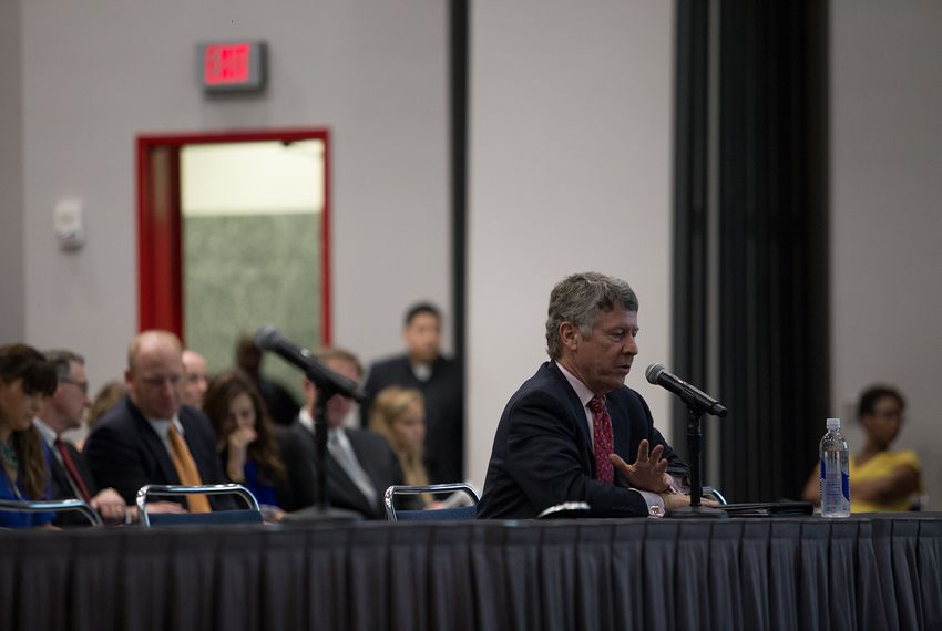 Harris Co. Judge Ed Emmett testifies at a House Natural Resources Committee hearing held at the George R. Brown Convention Center in Houston on Oct. 4, 2017.