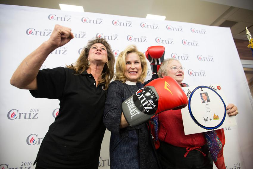 Susan Roshto, left, and Hazel Meaux, right, pose with Heidi Cruz, center, as she campaigns for her husband in Beaumont on ...