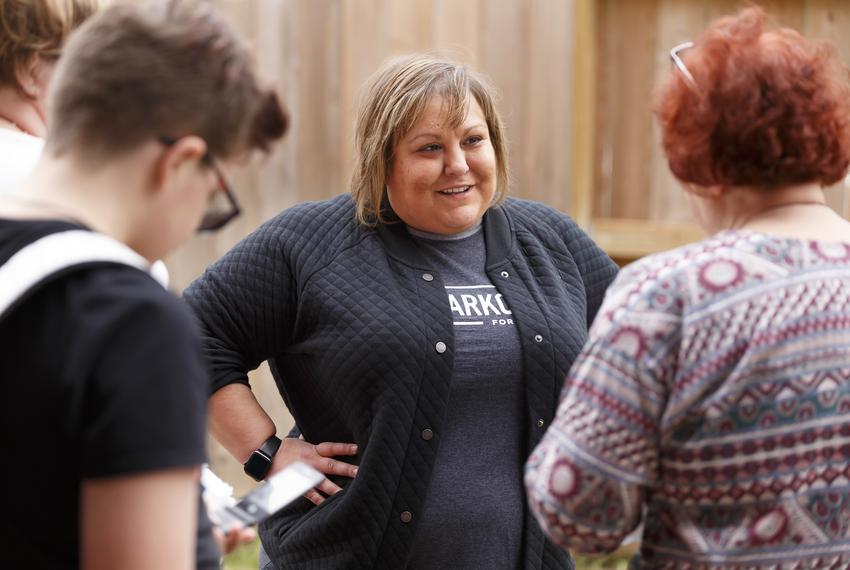 Democratic candidate for House District 28, Eliz Markowitz, speaks to her supporters at a block walk in Fulshear on Jan. 2...