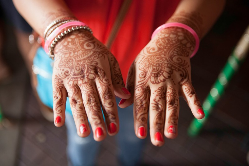 Jaanvi Sabharwal's hands were decorated with henna for an Indian wedding she attended in Sugar Land. She was visiting from Toronto.