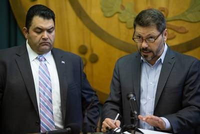 Noel Candelaria, president of the Texas State Teachers Association, and Louis Malfaro, president of the Texas chapter of the American Federation of Teachers, at a press conference at the Capitol on August 30, 2018.