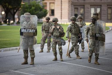 Texas National Guard troops at the State Capitol during a protest over the death of George Floyd in Austin on June 19, 2020.