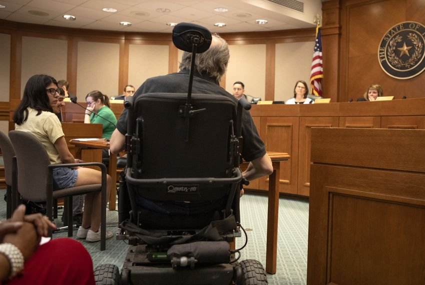 The House Elections Committee listens to testimony on Senate Bill 9 from Mark Cundall with Rev Up Texas. Cundall spoke in opposition to the bill, specifically the language regarding people with disabilities.