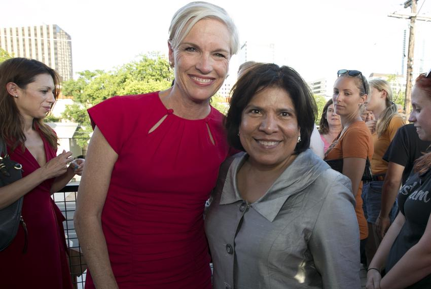 Grace Garcia, right, executive director of Annie's List, poses with Cecile Richards, president of Planned Parenthood Federation of America, in Austin on June 25, 2013.