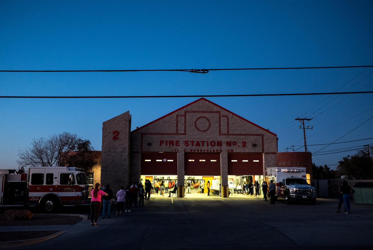 People cast their votes at a polling station located at the El Paso Fire Department Fire Station No. 2 on Election Day in El Paso on Nov. 3, 2020.