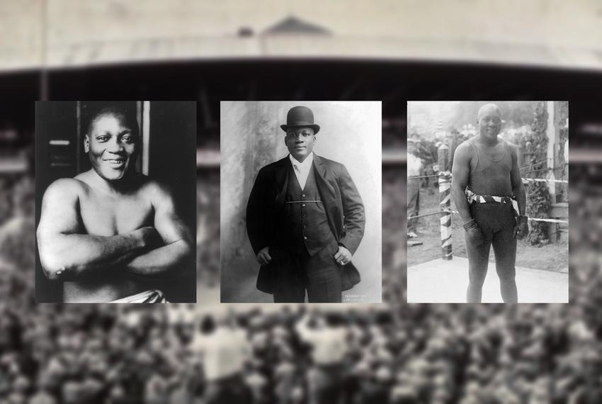 Jack Johnson, the first African-American world heavyweight boxing champion.