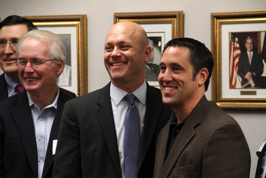 Glenn Hegar (far right) stands with chief revenue estimators past and future. From left: Dale Craymer, Billy Hamilton and To…