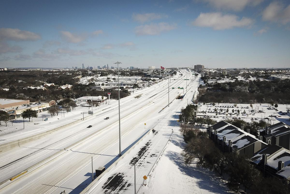 An aerial view of northbound Interstate 35 at Stassney Lane in South Austin after a severe snow storm. Feb. 15, 2021.