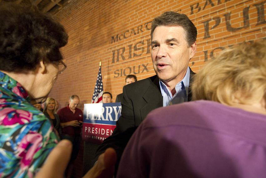 Gov. Rick Perry greets Iowans in Sioux City on Oct. 8, 2011.