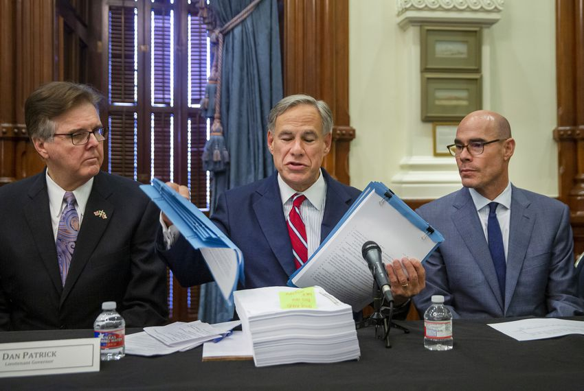 From left: Gov. Greg Abbott, Lt. Gov. Dan Patrick and House Speaker Dennis Bonnen hosted the first meeting of the Texas Safety Commission at the state Capitol on Aug. 22.