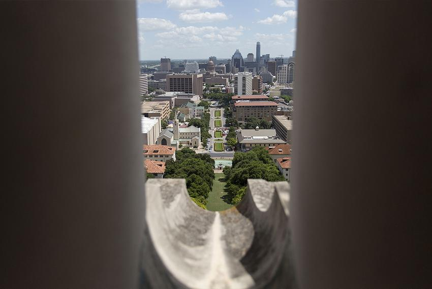 Southbound view through one of the UT Tower rain spouts that Charles Whitman used to fire on his victims in 1966. Photo ta...