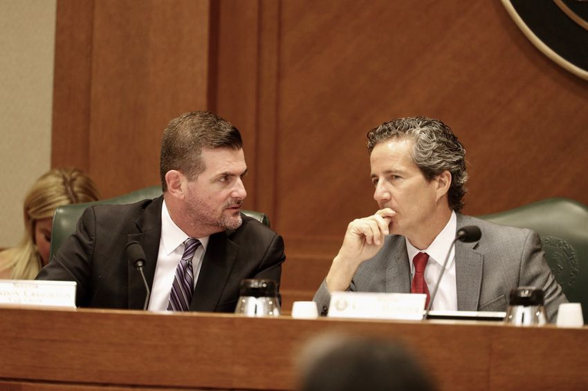 State Sens. Brandon Creighton, R-The Woodlands, and Kelly Hancock, R-North Richland Hills, at a Business & Commerce committee hearing on Saturday.