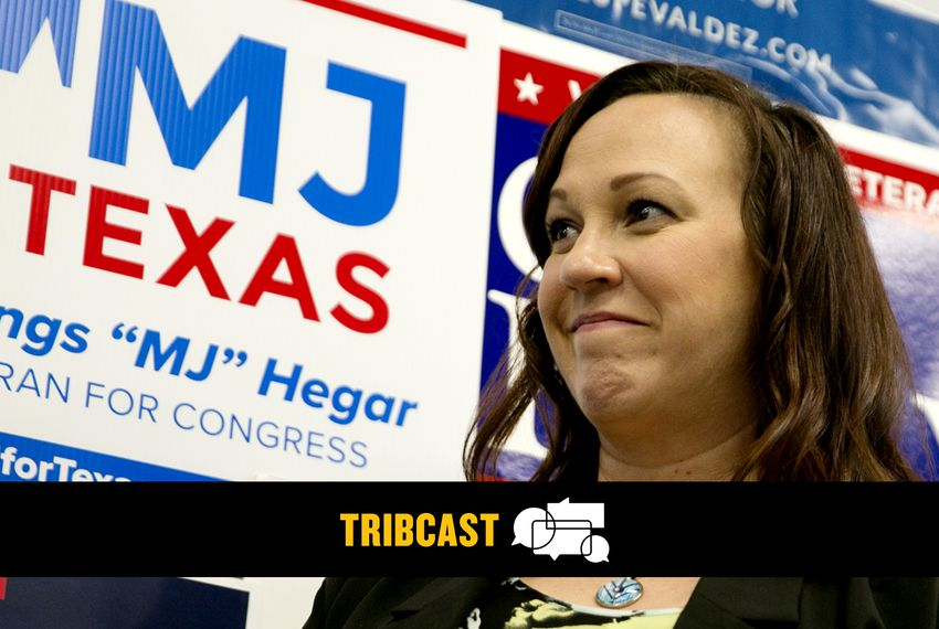 MJ Hegar spoke to supporters and volunteers at an early vote rally at her field office in Austin last fall.