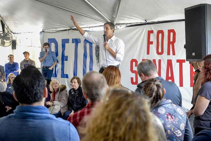 U.S. Rep. Beto O'Rourke, D-El Paso, a Democratic candidate for U.S. Senator, talks to supporters at a rally and town hall me…