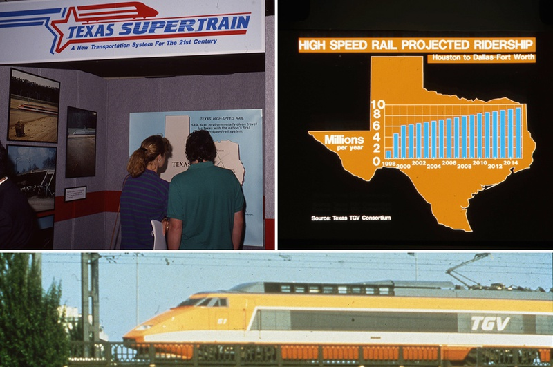 """More than 20 years ago, Texas TGV was approved to build a high-speed rail line that would connect Dallas and Houston. It was projected to carry millions of passengers. But the """"Texas Supertrain"""" project never secured the necessary funding and collapsed."""