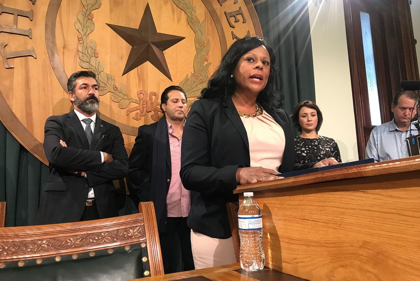 State Rep.Nicole Collier, D-Fort Worth,discusses ways to control gun violence at a press conference at the Capitol on Wednesday, Nov. 8, 2017. Behind her, left to right: state Reps. RamonRomero Jr., D-Fort Worth,PonchoNevárez, D-Eagle Pass, Gina Hinojosa, D-Austin, and Ed Scruggs, vice chairman of Texas Gun Sense.