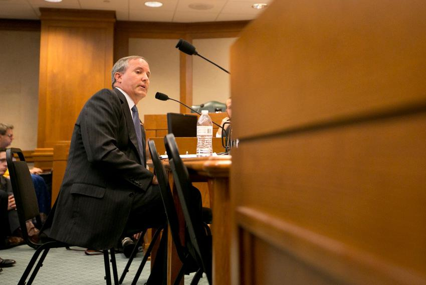 Texas Attorney General Ken Paxton testifies in front of the Senate Committee on Health and Human Services regarding an ong...