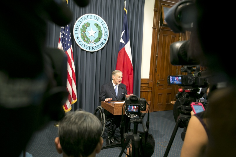 Gov. Greg Abbott lays out items for a special session, at the Capitol on June 6, 2017.