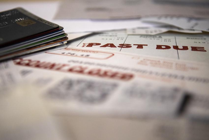 Credit card debt illustration.
