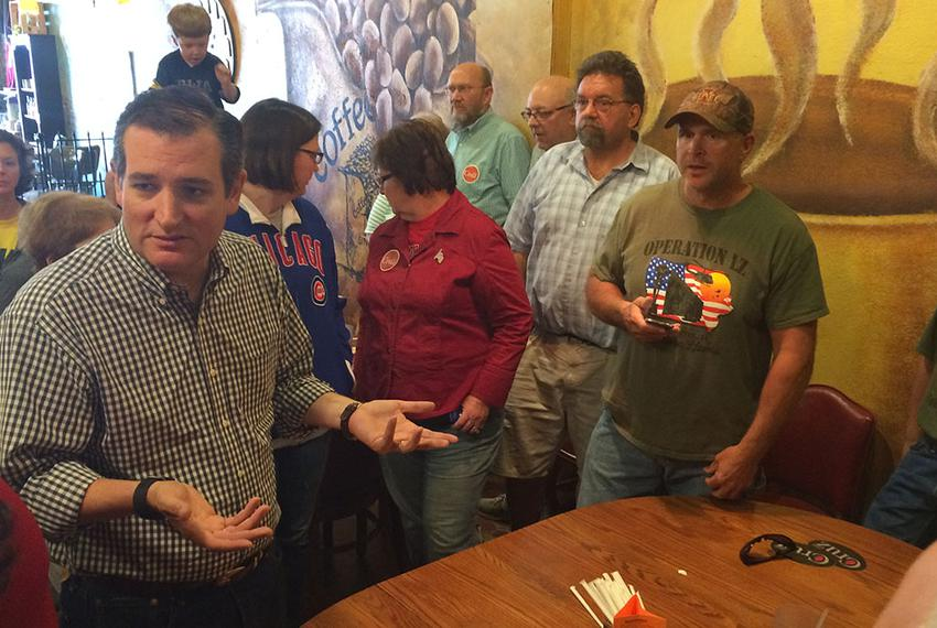 U.S. Sen. Ted Cruz, R-Texas, speaks with Iowans on Saturday at a restaurant in Hampton. The 2016 presidential candidate disc…