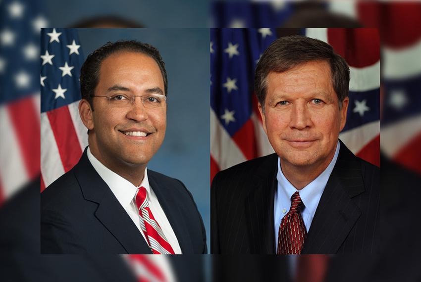 U.S. Rep. John Hurd, R-San Antonio (l.) and Republican Governor John Kasich of Ohio.