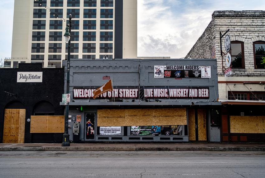 Shuttered bars on Austin's iconic Sixth Street during the coronavirus pandemic.