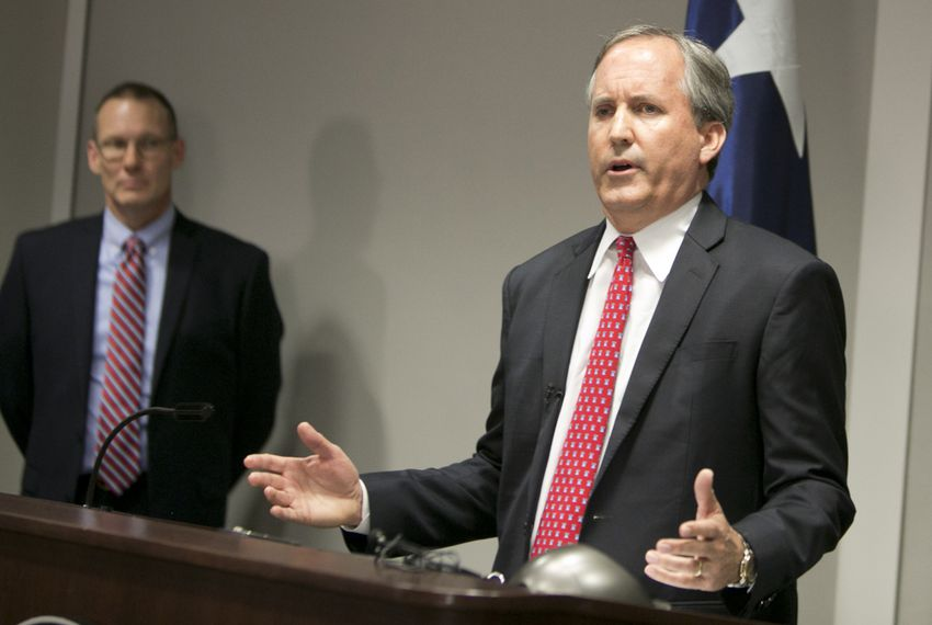Texas Attorney General Ken Paxton spoke at a May 25, 2016, news conference announcing a lawsuit filed against the federal government over rules for transgender bathrooms in public schools.