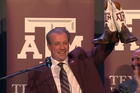 Newly hired Texas A&M head coach Jimbo Fisher at an introductory press conference in College Station on Dec. 4, 2017.