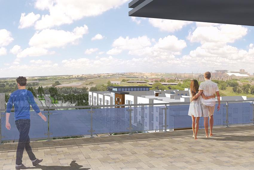 Renderings for Park West, a new student housing development being built on land owned by Texas A&M University.