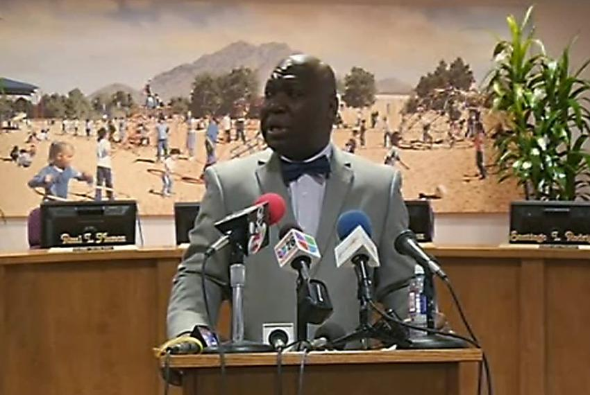 Texas Education Agency commissioner Michael Williams announces at a press conference that he is stripping all authority fr...