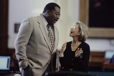 Photos COPYRIGHT Bob Daemmrich 1997, 1999, 2001.  All rights reserved. Sen. Royce West in action at the Texas Senate. Year is shown in the file name.   Talking with Sen. Florence Shapiro.