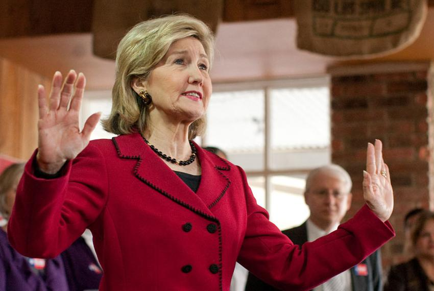 U.S. Senator Kay Bailey Hutchison campaigns in suburban San Antonio on Thursday in her bid for the Republican nomination for…