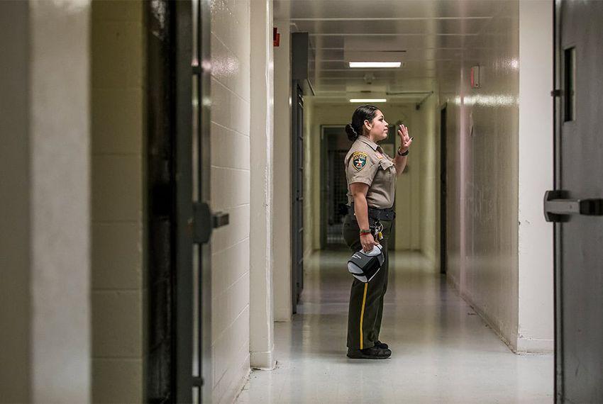 A guard inside the Webb County Jail in Laredo, TX, on Nov. 5, 2015.