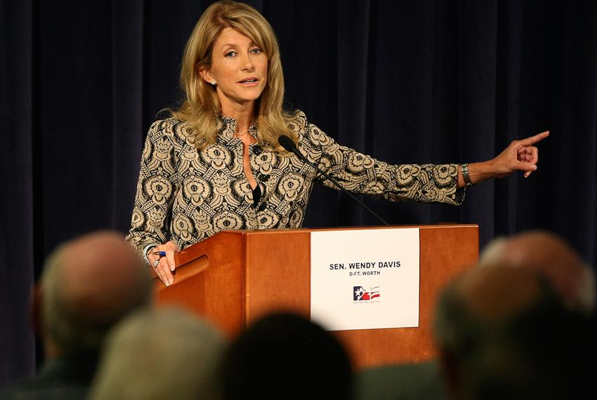 State Sen. Wendy Davis, D-Fort Worth, faces Mark Shelton in a District 10 Senate debate at the Tarrant County College Trinit…
