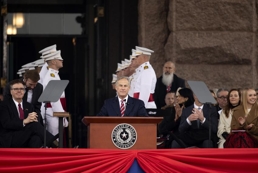 Gov. Greg Abbott addresses attendees at the Oath of Office Ceremony on the state Capitol grounds on Jan. 15, 2019.