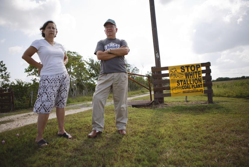 Robert Malina and Eva Malina have an anti coal sign at the entrance to their property and home near Bay City, Texas Monday, …