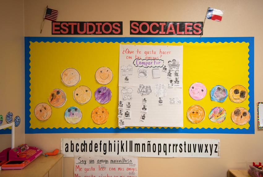 A social studies board in a Pre-K bilingual classroom at Hemphill Elementary in Kyle on Sept. 5, 2019.