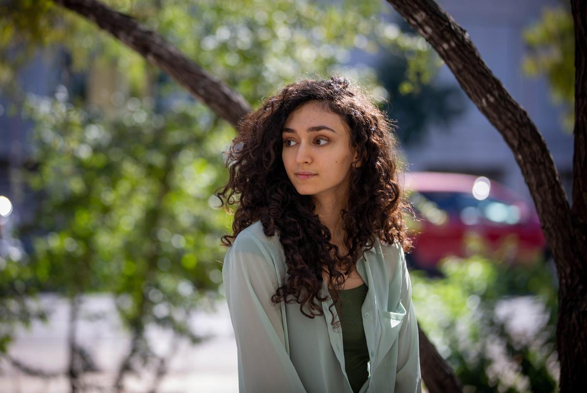 Janet Abou-Elias, vice president of the University of Texas at Austin Arab Student Association, outside the Moody College of Communication building on Oct. 16, 2020. Abou-Elias is disappointed by the under-recognition of Arab Texans in the U.S. Census.