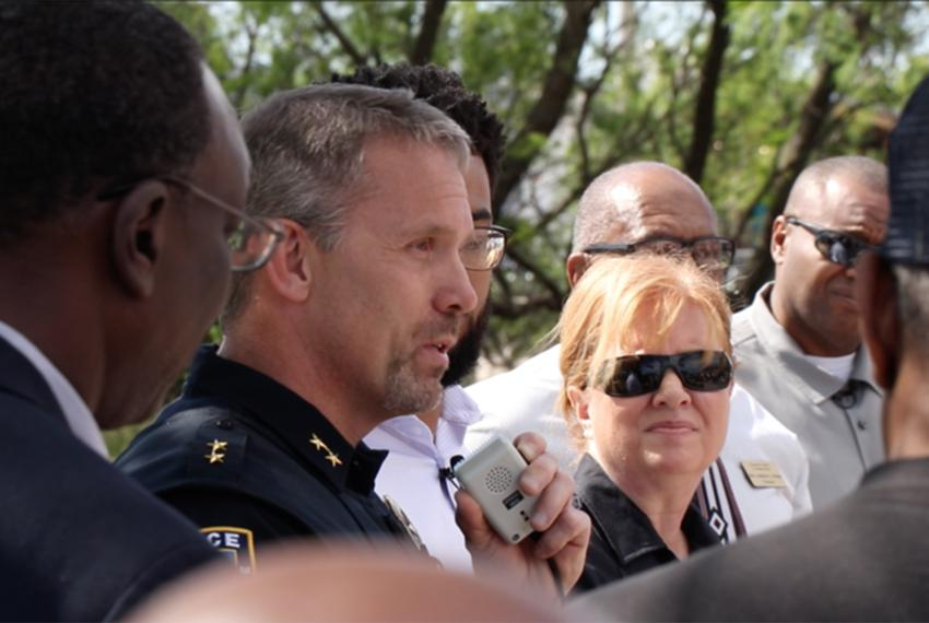 Abilene Police Chief Stan Standridge apologizes to the family of 1922 lynching victim Grover C. Everett at a memorial cere...