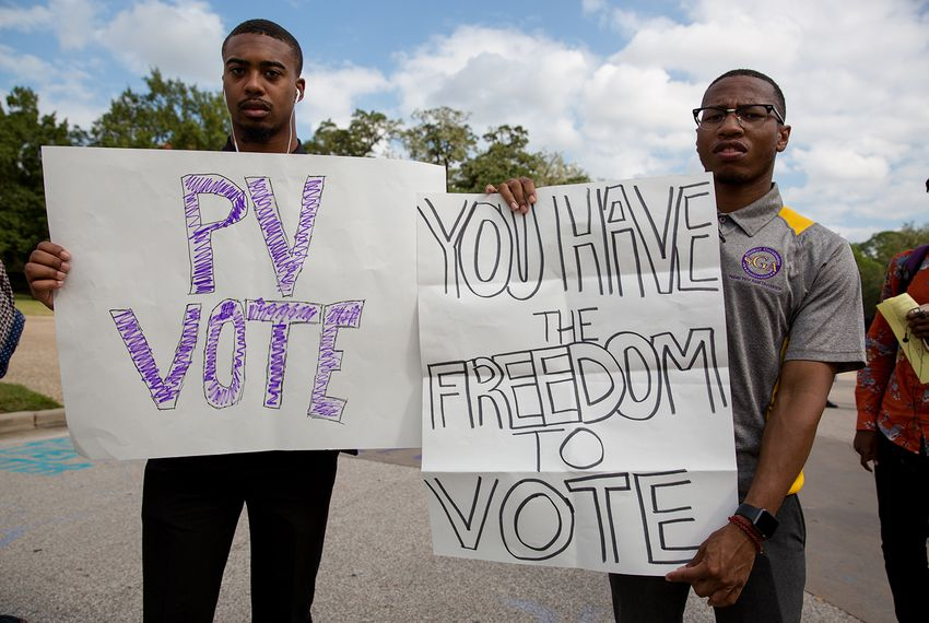 Brizjon Wilright (l.) and Kendric Jones stand outside the Willie A. Tempton Student Center at Prairie View A&M encouraging other students to vote on November 2, 2016.