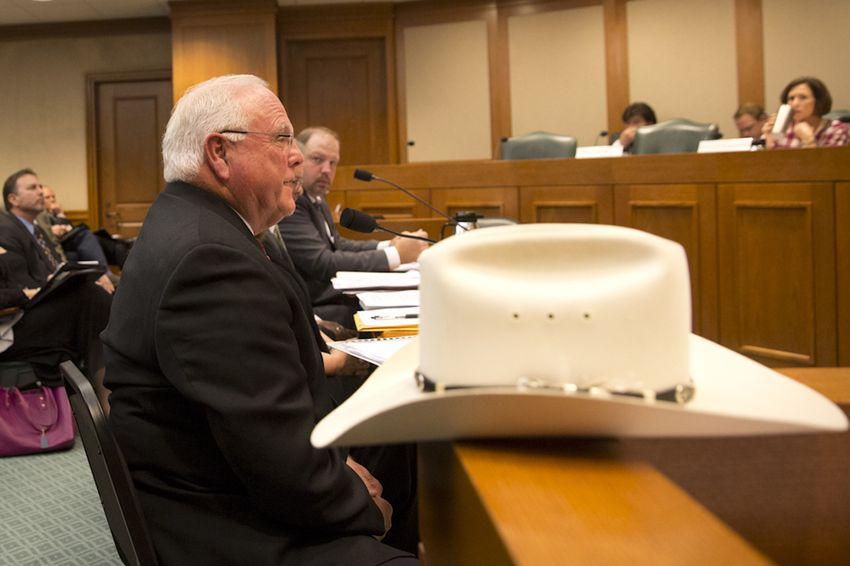 Texas Agriculture Commissioner Sid Miller testifies during a hearing of the state Senate Committee on Agriculture, Water & Rural Affairs on Dec. 8, 2015. He defended a proposal to hike fees on services and licenses his agency provides.