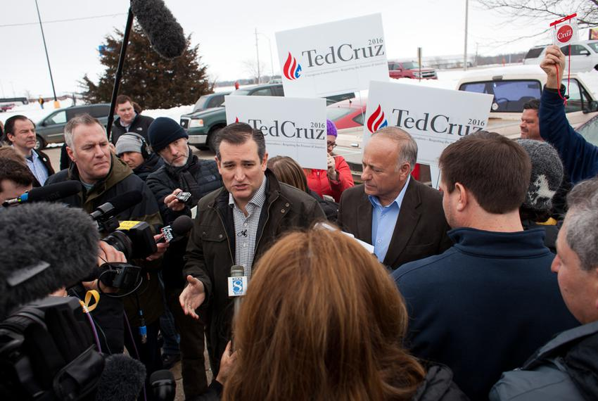U.S. Sen. Ted Cruz speaks to members of the press before a campaign speech at Kings Christian Bookstore in Boone, Iowa, on J…