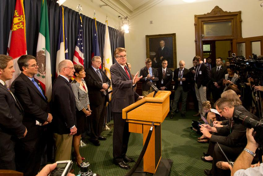 "Lt. Gov. Dan Patrick talks with the media during a press conference on SB 6, also known as the ""bathroom bill,"" on Feb. 6, 2…"