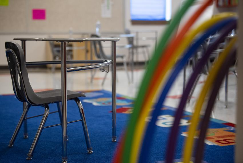 A desk is distanced six feet apart from other desks at Premont Ernest H. Singleton Early College Academy on Tuesday, Aug. 4,…