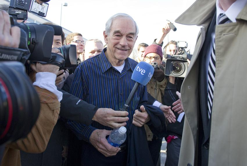 U.S. Rep. Ron Paul leaving Valley High School after a Rock the Caucus event in Des Moines on Jan. 3, 2012, the day of the Io…