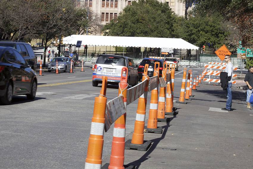 Congress Avenue, south of the Capitol, is prepared for inaugural festivities on Monday.