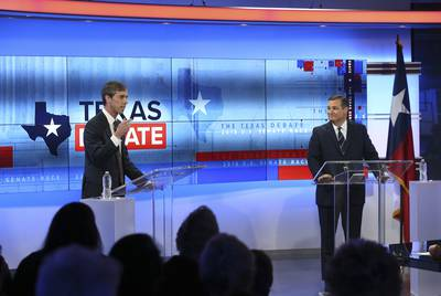 U.S. Rep. Beto O'Rourke, D-El Paso, left, debates U.S. Sen. Ted Cruz at the KENS 5 Studios in San Antonio on Oct. 16, 2018.