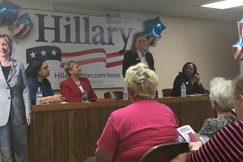 State Sen. Sylvia Garcia, D-Houston, speaks to a crowd of Hillary Clinton volunteers at a panel discussion on women's health…
