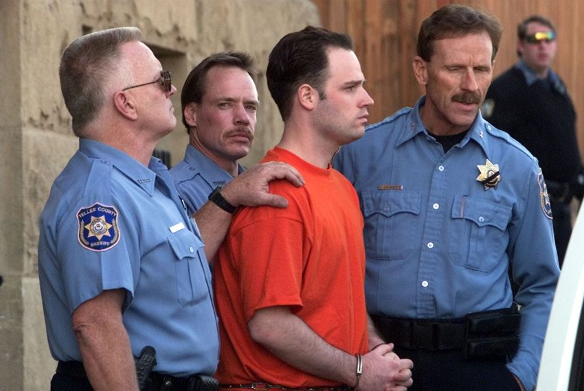 "Randy Halprin, then 23, one of the ""Texas Seven"" prison escapees, is led out of the Teller County Courthouse after a extradition hearing in Cripple Creek, Colorado on Jan. 26, 2001."