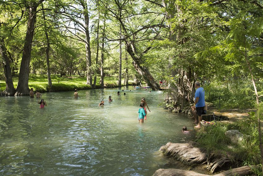 Visitors enjoy spring-fed Cypress Creek at Blue Hole Regional Park on July 19, 2018.